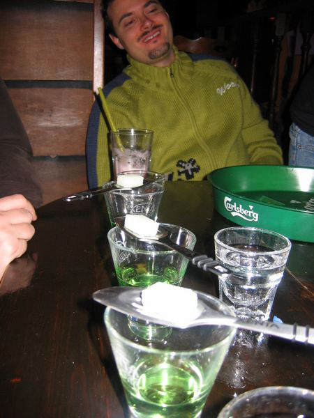 4 absinthes lined up for the guy who can't drink